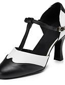 hesapli Gece Elbiseleri-Kadın's Modern Dans Ayakkabıları Yapay Deri Sandaletler / Topuklular Toka Kişiye Özel Kişiselleştirilmiş Dans Ayakkabıları Siyah ve Beyaz / İç Mekan / Performans / Egzersiz / Profesyonel