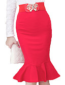 tanie Damska spódnica-Damskie Puszysta Bodycon Spódnice - Praca Solidne kolory Falbana / Seksowny / Szczupła