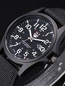 baratos Quartz-Homens Relógio Militar / Relógio de Pulso Tecido Banda Preta / Branco / Marrom / Aço Inoxidável / SSUO 377