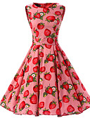 tanie Sukienki-Damskie Wyjściowe Vintage Bawełna Swing Sukienka - Owoc Do kolan