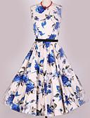 baratos Vestidos de Mulher-Mulheres Vintage Evasê Vestido Floral Cintura Alta Médio