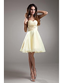 cheap Wedding Dresses-A-Line Strapless Knee Length Taffeta Bridesmaid Dress with Beading by LAN TING BRIDE®