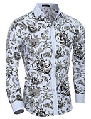 cheap Men's Shirts-Men's Cotton Slim Shirt - Floral Print Spread Collar / Long Sleeve