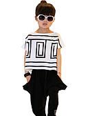 tanie Zestawy ubrań dla dziewczynek-Dzieci Dla dziewczynek Prążki Prążki Krótki rękaw Bawełna Komplet odzieży