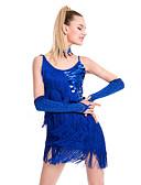 cheap Latin Dance Wear-Latin Dance Dresses Women's Performance Sequined / Milk Fiber Tassel Sleeveless Natural Dress