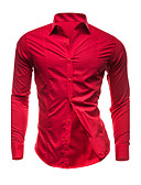 cheap Men's Shirts-Men's Plus Size Cotton Slim Shirt - Solid Colored Basic Spread Collar / Long Sleeve