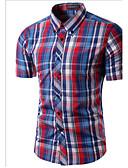 cheap Men's Shirts-Men's Slim Shirt - Plaid Print Button Down Collar / Short Sleeve
