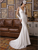cheap Wedding Dresses-Mermaid / Trumpet V Neck Sweep / Brush Train All Over Floral Lace Made-To-Measure Wedding Dresses with Beading / Appliques by LAN TING BRIDE® / Open Back
