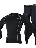 tanie Męskie swetry i swetry rozpinane-Arsuxeo Męskie Długi rękaw Koszulka rowerowa typu base layer - Szary / Jasnozielony / Granatowy Rower Rajstopy, Oddychający, Keep Warm, Szybkie wysychanie, Zima, Spandeks / Wysoka elastyczność