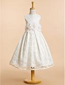 hesapli Çiçekçi Kız Elbiseleri-A-Şekilli Scoop Boyun Diz Altı Dantelalar Fiyonk / Dantel / Çiçekli ile Çiçekçi Kız Elbisesi tarafından LAN TING BRIDE®