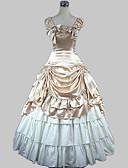 preiswerte Kleider für die Hochzeitsfeier-Niedlich Klassische / Traditionelle Lolita Viktorianisch Mittelalterlich Satin Damen Mädchen Kleid Ballkleid Cosplay Champagner / Golden Ärmellos Boden-Länge Kostüme