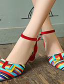 cheap Women's Dresses-Women's Shoes Synthetics Spring / Summer Chunky Heel Bowknot / Split Joint Black / Red / Blue / Dress