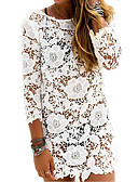 cheap Cover Ups-Women's Solid White Cover-Up Swimwear - Solid Colored Lace Lace Backless, Lace M L XL White / Boat Neck / One-Pieces