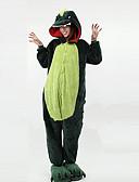baratos Couro-Adulto Pijamas Kigurumi Dinossauro Pijamas Macacão Lã Polar Verde Cosplay Para Homens e Mulheres Pijamas Animais desenho animado Festival / Celebração Fantasias