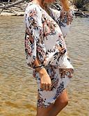 billige Bikinier og damemote 2017-Dame Blomster Grime Hvit Snørebinding En del / Dekke Opp Badetøy - Multi-farge / Reaktivt Trykk Moderne Stil En Størrelse / Endelt
