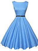 baratos Vestidos de Mulher-Mulheres Vintage Evasê Rodado Vestido Poá Altura dos Joelhos Azul