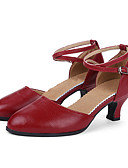 povoljno Koktel haljine-Žene Moderna obuća / Standardni Koža Štikle Kopča Kubanska potpetica Nemoguće personalizirati Plesne cipele Crvena / Srebrna / Zlatna