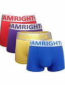 cheap Men's Underwear-Men's Boxer Briefs Color Block Letter Mid Waist
