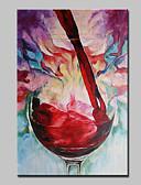 baratos Véus de Noiva-Pintados à mão Abstrato / Vida Imóvel / Floral/Botânico / PopModerno 1 Painel Tela Pintura a Óleo For Decoração para casa