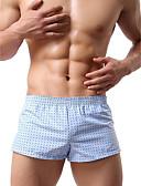 baratos Roupas Íntimas e Meias Masculinas-Homens Boxer Curto - Estampado, Estampado Cintura Média