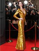 billige Aftenkjoler-Tube / kolonne V-hals Gulvlang Pailletter Berømmelse stil Formel aften Kjole med Paillette ved TS Couture®