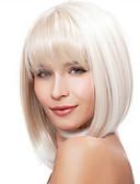 billige Herreklokker-Syntetiske parykker Dame Rett Hvit Syntetisk hår Hvit Parykk Kort Lokkløs Hvit