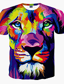 cheap Men's Shirts-Men's Plus Size T-shirt - Animal Lion, Print Round Neck / Short Sleeve