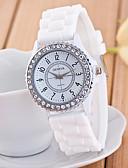 preiswerte Modische Uhren-Geneva Damen Armbanduhr Armbanduhren für den Alltag / Imitation Diamant Silikon Band Glanz / Freizeit / Modisch Schwarz / Weiß / Blau / Ein Jahr / Tianqiu 377