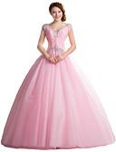 baratos Vestidos de Noite-De Baile Decote V Longo Tule Inspiração Vintage Evento Formal Vestido com Detalhes em Cristal de