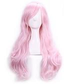 olcso Női hálóruházat-Szintetikus parókák / Jelmez parókák Női Göndör Pink Bretonnal Szintetikus haj Oldalsó rész Pink Paróka Hosszú Sapka nélküli Rózsaszín