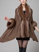 cheap Women's Coats & Trench Coats-Women's Vintage Faux Fur / Cotton Fur Coat - Solid Colored, Modern Style V Neck