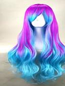 baratos Quartz-Perucas sintéticas Mulheres Ondulado / Ondulação Larga Com Franjas Cabelo Sintético Peruca Sem Touca Verde Azul hairjoy