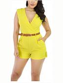 baratos Vestidos de Mulher-Mulheres Moda de Rua Macacão Sólido Decote V Cintura Alta / Verão / Shorts