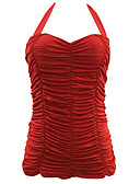 abordables Biquinis y Bañadores para Mujer-Mujer Un Color Con Cordones Una Pieza Bañadores Sólido Con Lazo Blanco Negro Rojo