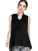 baratos Camisetas Femininas-Mulheres Tamanhos Grandes Blusa Renda, Retalhos Poliéster Decote V