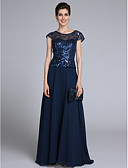 cheap Mother of the Bride Dresses-Sheath / Column Scoop Neck Floor Length Chiffon Mother of the Bride Dress with Sequin by LAN TING BRIDE® / Sparkle & Shine