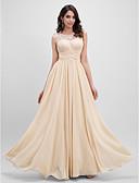 hesapli Balo Elbiseleri-A-Şekilli Illüzyon boyun çizgisi Yere Kadar Şifon Kırma Dantel / Çiçekli ile Balo / Resmi Akşam Elbise tarafından TS Couture®