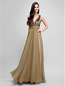 cheap Evening Dresses-A-Line Jewel Neck Floor Length Chiffon / Satin Color Block Formal Evening Dress with Sequin / Sash / Ribbon / Side Draping by TS Couture®