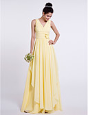 cheap Women's Dresses-Sheath / Column V Neck Floor Length Chiffon Bridesmaid Dress with Side Draping / Criss Cross / Flower by LAN TING BRIDE®