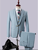 baratos Ternos-Azul Céu Sólido Fino Polyester / Rayon (T / R) Terno - Notch / Paletó Comum 1 Botão