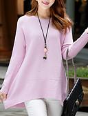 voordelige Bovenkleding voor dames-Dames Effen Dagelijks Street chic Pullover, Lange mouw Ronde hals Winter Herfst Katoen