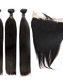 billige Trendy klokker-Indisk hår Rett Ubehandlet hår Hår Veft Med Lukker Hårvever med menneskehår Hairextensions med menneskehår