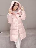 baratos Acessórios de Moda-Mulheres Sólido Diário Moda de Rua Longo Duvet, Com Capuz Manga Longa Algodão Inverno