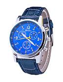 hesapli Deri-Erkek Bilek Saati Quartz Deri Siyah / Mavi / Kahverengi tasarımcılar / İsviçre Analog Klasik Günlük Elbise Saat - Siyah Kahverengi Mavi