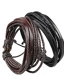 cheap Men's Belt-Unisex Layered Plaited Wrap Bracelet - Leather Simple Style, Multi Layer Bracelet Black / Brown For Christmas Gifts Party Daily