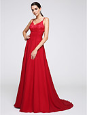 cheap Prom Dresses-A-Line Spaghetti Strap Court Train Chiffon Open Back Formal Evening Dress with Lace by TS Couture®