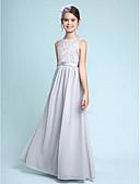 cheap Bridesmaid Dresses-Sheath / Column Bateau Neck Floor Length Chiffon / Lace Junior Bridesmaid Dress with Lace by LAN TING BRIDE® / Natural