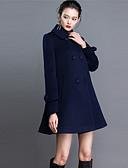 billige Damefrakker og trenchcoats-Krave Langærmet Medium Dame Blå Ensfarvet Efterår Vinter Gade I-byen-tøj Plusstørrelser Frakke,Kashmir Polyester
