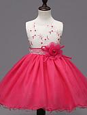 Недорогие Платья-Девочки С цветами / Нарядная одежда Официальные Пэчворк Без рукавов Полиэстер Платье Пурпурный