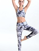 זול 2017ביקיני ובגדי ים-בגדי ריקוד נשים עם רצועות איקס יחידה 1 חזיית ספורט ומכנסי ריצה - אפור ספורט חותלות / מדים בסטים יוגה לבוש אקטיבי דחיסה, באט הרם סטרצ'י (נמתח)